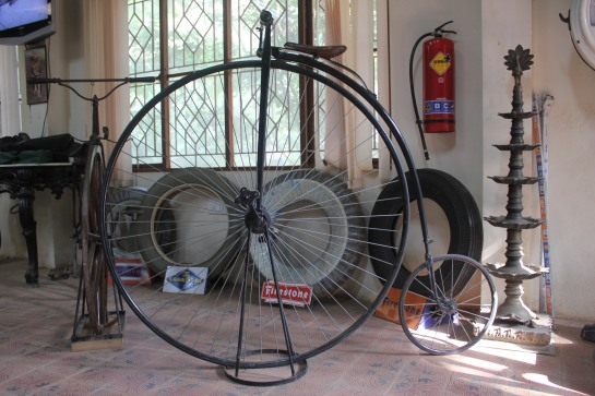 A Penny Farthing cycle. Notice the difference in the size of the wheels.