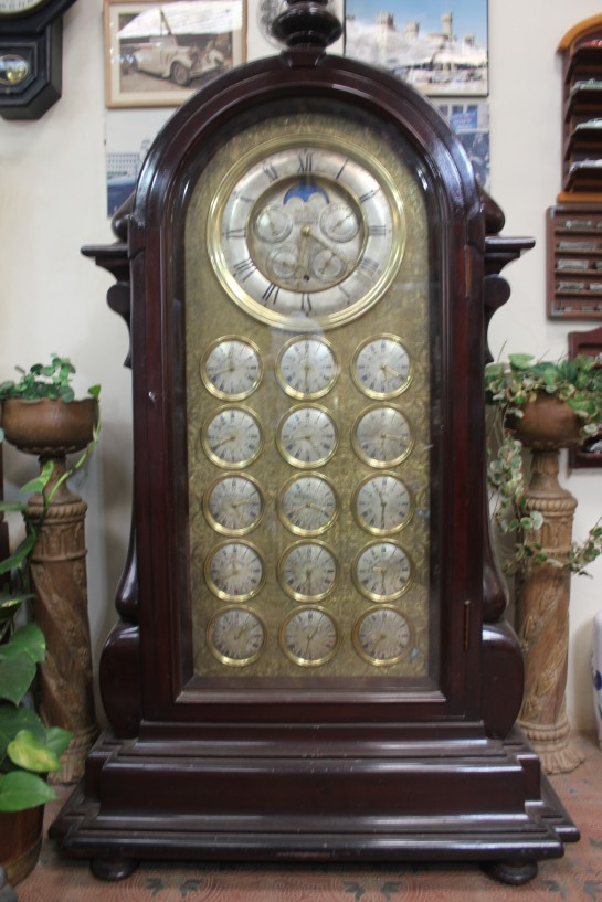 An emperor clock that displays 15 time zones
