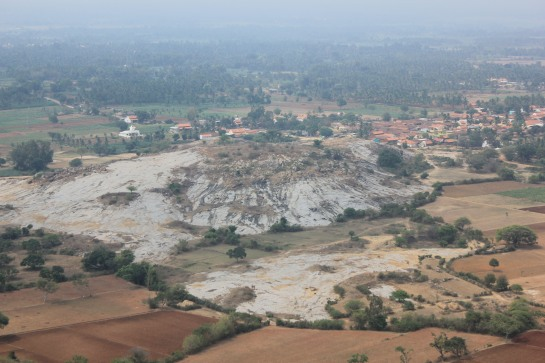 Aerial view of Kanakagiri and Aretippur as seen from Savanappana Betta.