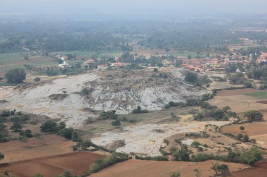 Aerial view of Kanakagiri and Aretippur as seen from Savanappana Betta.