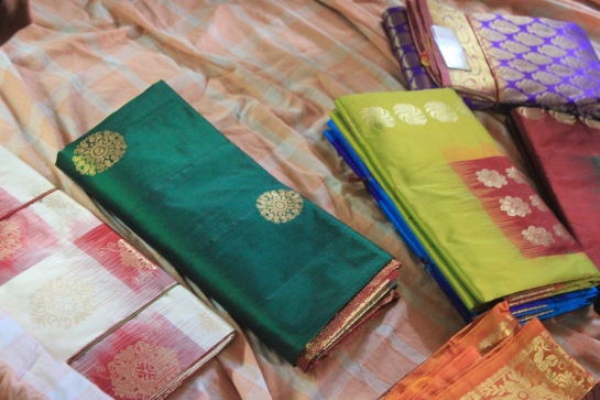 Finished sarees on display