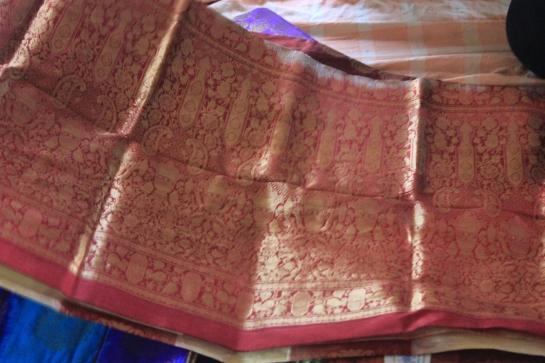 Intricate work on a saree