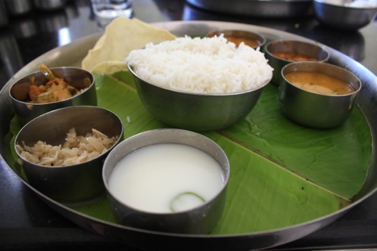 The lunch thali at Aarti Hotel, Vedasandur