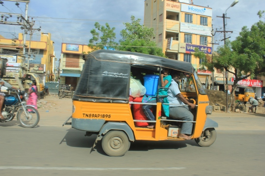 An auto plies on a Madurai road