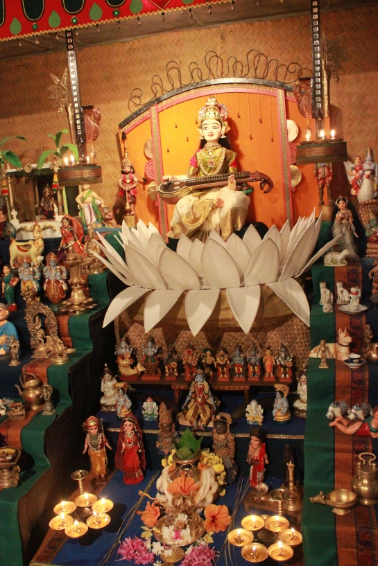 Goddess Saraswathi, the star attraction in the doll arrangement.