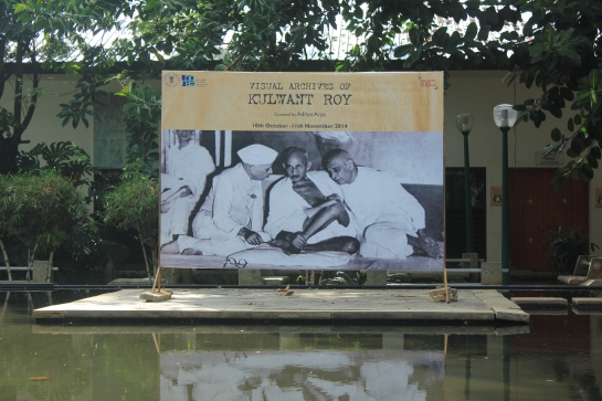 A photo by Kulwant Roy adorns an exhibition hoarding at the NGMA.